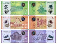 Nicaragua 10 + 20 + 50 Cordobas 2014 Polymer Set of 3 Banknotes 3 PCS UNC