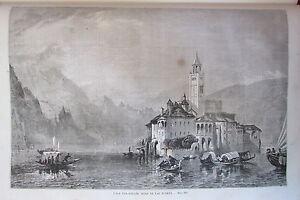 Italia Novara Isola San Giulo Lago D Orta Stampa XIX UNIVERSO Illustre 1858