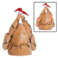 Santa TURKEY HAT w/ Christmas Lights - Funny Light-up Holiday Xmas Cap - NEW!