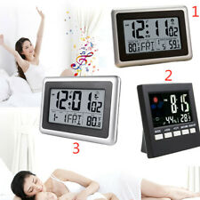Automatic Digital Dispiay LCD Wall Clock Temperature Snooze Alarm Indoor Home US