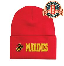 Military MARINES Cuffed Embroidered Beanie Hat Sock Cap Head Wear Red Capsmith