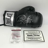 Autographed/Signed GEORGE FOREMAN Black Everlast Boxing Glove JSA COA Auto