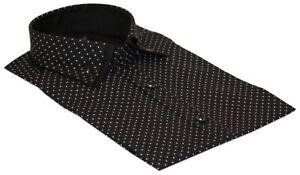 Polka Dot High Collar Men Shirt   Formal Wear Cotton Slim Fit Size M-3XL