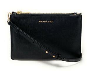Michael Kors Jet Set Large Double Pouch Pebbled Leather Crossbody Bag $258