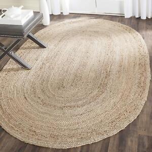 Jute Rug Oval Natural 100% Rustic look Braided Rug Reversible Area Carpet