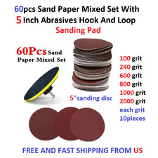 60pcs Sand Paper Mixed Set With 5 Inch Abrasives Hook And Loop Sanding Pad