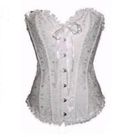 Pink Frill Floral Lace Ribbon Trim Overbust Corset Top Basque Victorian Bustier