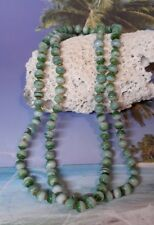"""Fine Long Green Malachite Color Glass Round Bead Necklace 32"""" Long"""
