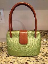 Bahay Bags Clam Shell Green Woven Buntal & Brown Leather Handbag