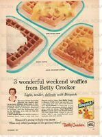 1957 Betty Crocker Bisquick Vintage Magazine Ad   3 Weekend Waffle Recipes