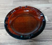 "Vintage Amber Diamond Pattern Glass Ashtray 6""  Cigars/Cigarettes"