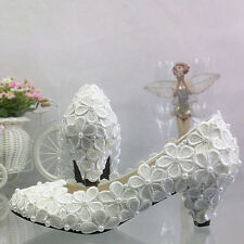 WHITE IVORY Lace Flower bridal high low heel wedding shoes pump flat bridesmaid