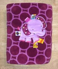 Taggies Baby Blanket Elephant Purple Lilac Circles Polka Dot Sensory Plush Lovey