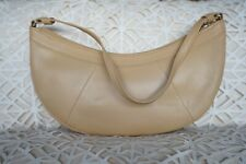 Vintage Suzy Smith Genuine Leather Beige Mini Hobo Handbag Shoulder Bag Purse