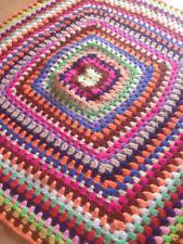 "Knit Crochet Baby Blanket  33""x33""  Handmade Multicolor Granny Square Afghan Lap"