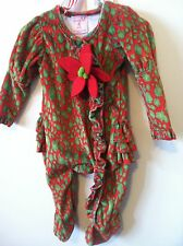 mudpie Poinsettia Christmas Sleeper 0-6 Months NEW! FRILLY BOTTOM! Bonus Clip!