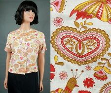 50s 60s Blouse M Vintage Psychedelic Floral Shirt Paisley Hearts Birds Crop Top