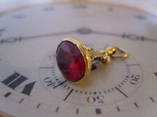 SUPERB VICTORIAN STYLE GILT & RUBY RED STONE SET ORNATE POCKET WATCH CHAIN FOB.