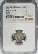 Antioch Bohemond III NGC XF45 Silver Denier Knights Templar Crusader Cross Coin