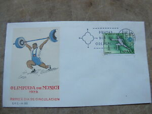 Spain First Day Cover - 1972 Munich Olympic Games - Weight Lifting / Fencing