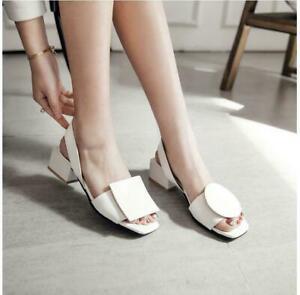 Women Casual Summer Slingback Sandal Low Heel Open Toe T-Strap Slip On Shoes