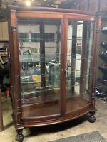 Antique 2 Door Curved Glass Mahogany China Cabinet Am. Empire 1920s