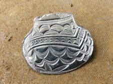 Lorreen Fine Detail Polished Sterling Silver Southwestern Pottery Brooch