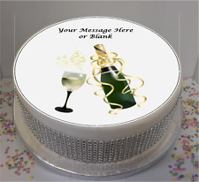 """Novelty Personalised Champagne & Glass  7.5"""" Edible Icing Cake Topper birthday"""