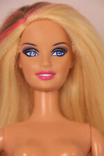 Blond Brown/Pink Streaks Fasionista Barbie Doll, Fully jointed body - Nude