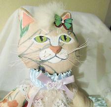 VICTORIAN CAT DOLL ooak unique new folk art hand sewn plush flower floral fabric