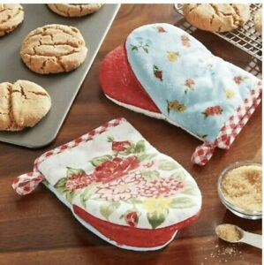 The Pioneer Woman Pair (2) Mini Oven Mitts SWEET ROSE Silicone grip NWT cotton