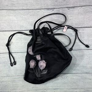 Victoria's Secret Black Floral design Drawstring Bag Exclusive Love Victoria's