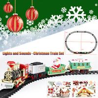 Christmas Electric Train Set Railway Tracks Toys Kids Children Xmas Train Gift