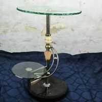Side Coffee Cocktail Table  Italian Tier Cut Glass Marble Pedestal Dolphins HTF