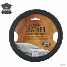 New Premium Genuine Leather Car Truck Steering Wheel Cover - Color Black