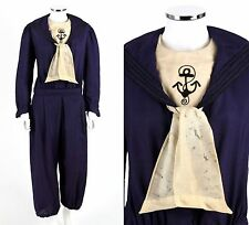 Vtg 1890s 1900s Victorian Royal Blue Wool 2-Pc Bicycle Athletic Ensemble Size 42