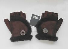 UGG Mini Bailey Button Suede Fingerless Gloves Chocolate Medium $145 MSRP NWT
