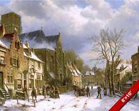 1800'S ERA WINTER STREET SCENE OIL PAINTING ART REAL CANVAS GICLEEPRINT