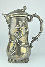 ANTIQUE E.G. WEBSTER & SON QUADRUPLE SILVER PLATE CHOCOLATE POT WITH WILD ROSES