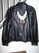 Harley patch on back of men's size large-XL (48) black leather jacket