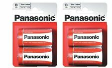 Pack of 4 Panasonic D Battery Batteries New Zinc Carbon R20 1.5V Exp +2Years