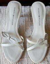 NIB Tommy Hilfiger White Leather Strappy Slide Sandals, Size 5