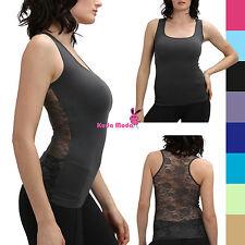 Hot Racer Back Tank Top w/Back Rose Floral Lace Cami Shirt Slimming Mesh T-Shirt
