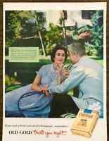 1953 Old Gold Cigarettes PRINT AD Couple Smoking The Cloister Sea Island Georgia