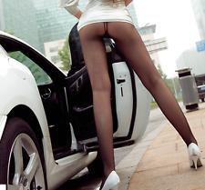 Women Sexy Elastic Waist Thin Transparent Tight Long Leggings Slim Black