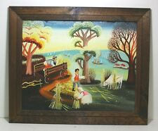 Paaschek Work Day in Farm/ Village Signed/ Framed Oil Painting