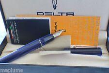 Italian Made Delta Unica Fountain Pen Fuchsia Blue Med Nib & Gift Cuffling Set