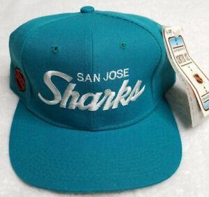 New Vintage 90s San Jose Sharks Single Line Script Sports Specialties Hat Teal