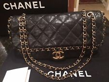 CHANEL Authentic Chain Around Shoulder Strap, Gold, Black Lambskin Flap Bag