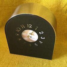 "Black Michael Graves Design Mantel Clock - Stainless Steel & Glass - 8"" tall"